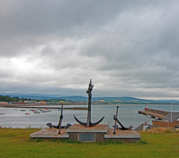 Anchor Monuments above Wicklow Ireland North Harbor